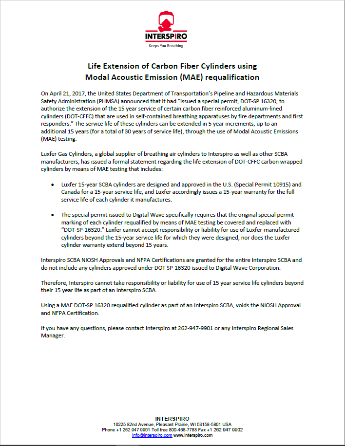 2018 - Life extension of DOT (US_Canada) cylinders