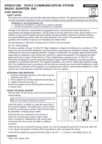 Firefighting user manual: 33509A - SpiroCom RAI Radio Adapter