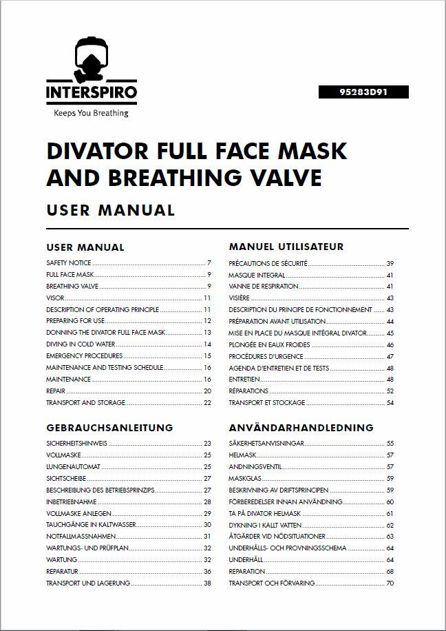 Diving user manual: 95283D - Divator Full Face Mask and BV