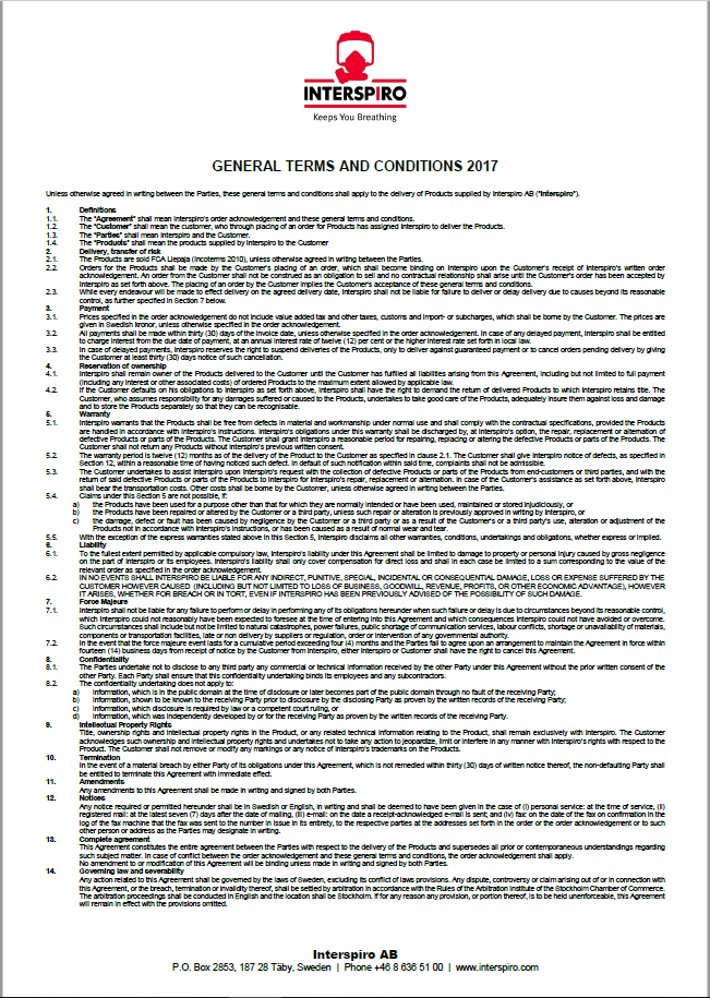 General Terms Conditions 2017 Interspiro AB